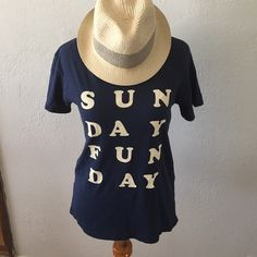 🎉HP🎉 Project Social T 'Sunday Funday' Navy blue. Size XS. Good condition. Tops Tees - Short Sleeve