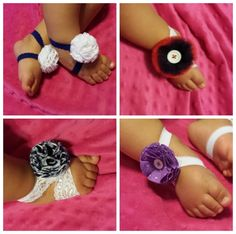 Fantastic Idea - and so Easy!  Interchangeable Baby Barefoot Sandals (Stacey totally needs these for our trip to St. Thomas for her baby!)