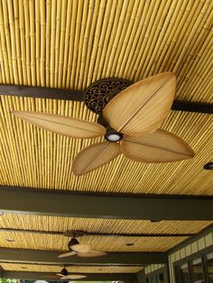Natural Cali Bamboo fencing as ceiling application