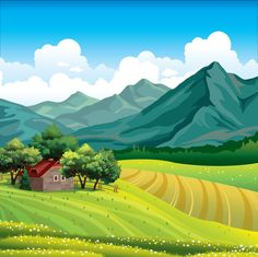Find Summer Landscape Green Field Wooden House stock images in HD and millions of other royalty-free stock photos, illustrations and vectors in the Shutterstock collection. Thousands of new, high-quality pictures added every day. Summer Landscape, Landscape Art, Colorful Drawings, Art Drawings, Landscape Illustration, Illustration Art, Cartoon Background, Landscape Background, Green Fields