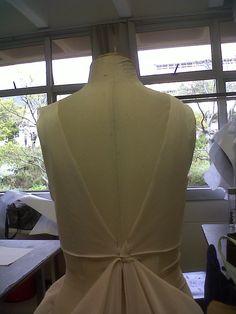 bodice back. draping in progress. #avantgardedress