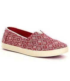 015af13a35c9 TOMS Avalon Diamond-Print Slip On Sneaker canvas bright red sz7.5 51.75 5