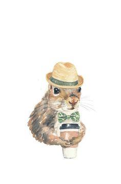 Squirrel wearing hat.