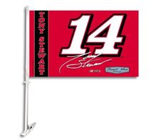 """NASCAR Tony Stewart Car Flag W/Wall Brackett by BSI. $13.99. Back your favorite driver proudly with this B.S.I. NASCAR® driver car flag. The 11"""" x 18"""" car flag is made of heavy-duty 150 denier polyester and lined for clear visibility from both sides. The officially licensed car flag is decorated in the driver's team colors, attaches easily and securely to your car window, and showcases the detailed team graphics on both sides. A wall mount kit is also included."""