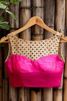 Pink Raw Silk Blouse With Cutwork Yoke @ LooksGud.in
