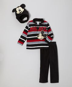Take a look at this Disney Black 'Mickey' Fleece Pullover Set - Infant & Toddler on zulily today!