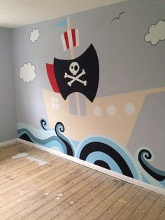 Pirate boat wall mural for my two boys. Pirate boat wall mural for my two boys. Pirate Room Decor, Pirate Nursery, Pirate Bedroom, Kids Bedroom, Pirate Baby Rooms, Bedroom Ideas, Kids Room Murals, Murals For Kids, Wall Murals