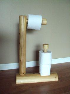 Rustic Log Toilet Paper Tree - Home Cabin Furniture Holder - Cedar Decor. $30.00, via Etsy.