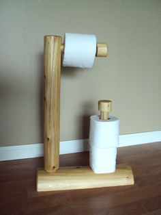 Rustic Log Toilet Paper Tree - Home Cabin Furniture Holder - Cedar Decor