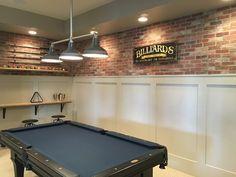 Cute basement billiard room with wainscoting and a brick wall! Cute basement billiard room with wainscoting and a brick wall! The Effective Pict Basement Makeover, Basement Plans, Basement Renovations, Basement Ideas, Rustic Basement, Basement Designs, Basement Inspiration, Modern Basement, Walkout Basement