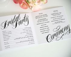 Ravshing Script Wedding Program Interior... really like this