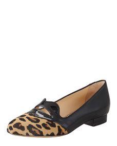 Charlotte Olympia Bisoux Lip-Detail Leopard Patent Slipper