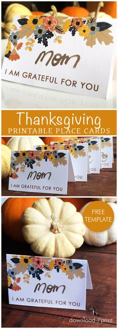 Free printable place card template, perfect for your Thanksgiving table.