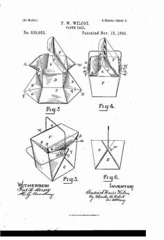 """F. W. Wilcox """"Paper Pail"""" 1894 patent register  #ChineseFood #TakeAway #PaperBox"""