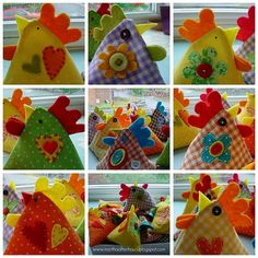 Cheeky Chickens - funky beanbag poultry, embroidered by hand and machine, with all sorts of buttons, felt, beads and crochet flowers.