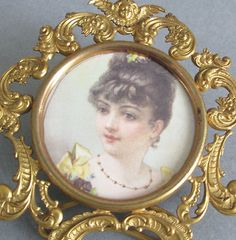 Antique-c1900-Miniature-3-French-GILT-Ormolu-Frame-w-Easel-Scrolls-CHERUBS
