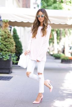 Pale pink and white outfit