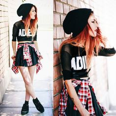 Hot Looks, by Hype + Newness Grunge Outfits, Punk Outfits, Stylish Outfits, Punk Fashion, Grunge Fashion, Teen Fashion, Alternative Mode, Alternative Fashion, Goose Clothes
