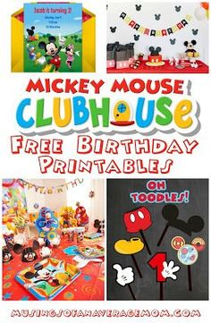 Free Mickey Mouse Clubhouse birthday printables including invitations, decorations, photo props, and more!