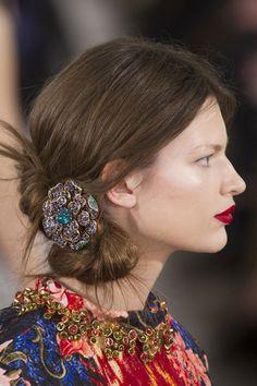 From Paris & Oscar de la Renta Fall 2013 gorgeous hair jewels and lips