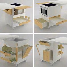 10 trucos para cocinas pequeñas mueble-multifuncion-de-Rubi – DECORACION DE INTERIORES