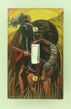 Tarot Card Switchplate: Knight of Disks. $11.00, via Etsy.