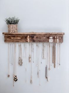Your place to buy and sell all things handmade Wood Jewelry Organizer Necklace Holder Wall Mount Jewelry Diy Jewelry Hanger, Necklace Hanger, Wall Mount Jewelry Organizer, Diy Necklace Holder, Diy Necklace Organizer, Earring Hanger, Jewelry Holder Wall, Necklace Storage, Earing Organizer