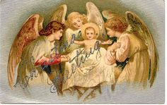 """ Christmas Angels Greet Baby Jesus "", Vintage Post Card silver glitter, a DB-UNU and in Excellent condition. Karodens Vintage Post Cards at www.bonanza.com/booths/karoden"