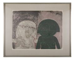 """""""Dos Cabezas de Mujer"""" a lithograph in color by Rufino Tamayo ( 1899 - 1991 ) from """"Mujeres"""".  Circa 1969.  21 H x 27.5 W x 1.5 D"""
