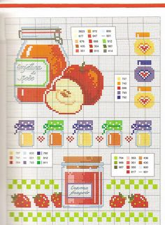 Gráficos Ponto Cruz                                                       … Cross Stitch Charts, Cross Stitch Designs, Cross Stitch Patterns, Diy Embroidery, Cross Stitch Embroidery, Embroidery Patterns, Cross Stitch Fruit, Cross Stitch Kitchen, Sewing Projects For Kids