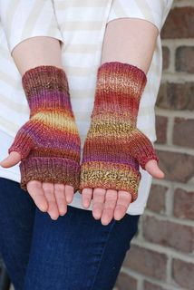 Free pattern for Cozy Cuffed Mitts by Karen Everitt - wear with most of fingers covered or folded back as shown. Worsted weight and #5 needles - good for leftovers from a larger project.