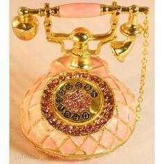 Bejeweled Swarovski Crystal Enamel Trinket Box Pink Vintage Telephone Statue   eBay