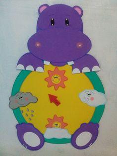 Painel do tempo hipo. Decoração de sala de aula tema safari Toddler Crafts, Crafts For Kids, Arts And Crafts, Diy Crafts, Classroom Displays, Classroom Decor, Bulletin Board Paper, Butterfly Painting, School Decorations