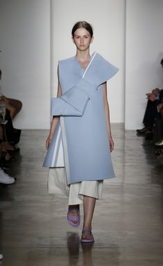 Sculptural Fashion - chalky blue dress with oversized bow; experimental fashion design // Andrea Jiapei Li