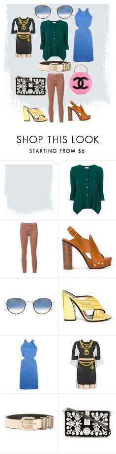 """""""Summer fashion"""" by monica022 ❤ liked on Polyvore featuring Twin-Set, AG Adriano Goldschmied, Garrett Leight, Gucci, STELLA McCARTNEY, Moschino, Versace, Dolce&Gabbana, Chanel and vintage"""