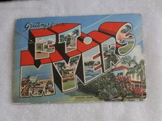 Ft Myers, FL Souvenir Folder Post Card , Edison's Home by Curt Teich 1940s.  Copyright 1948.  Fold out scenes of Thomas Edison's Winter Home and Gardens.  Priced to sell on Etsy.