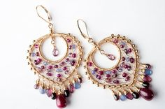 Colorful Gemstone Mosaic Earrings Ruby Sapphire by mosaicdesign, $620.00