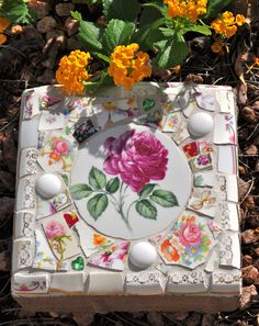 Mosaic Small Stepping Stone with Vintage China. $40.00, via Etsy.
