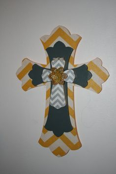 Yellow and Gray Chevron Layered Wooden Cross by extremepickdesigns, $35.00