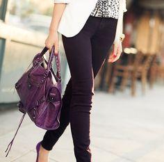 Purple balenciaga city bag.