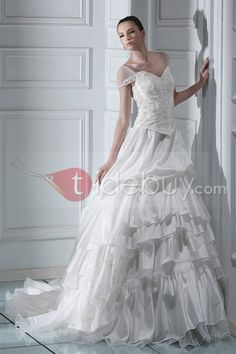 ゴージャスボールガウンオフショルダー床長さのチャペルトレインウエディングドレス