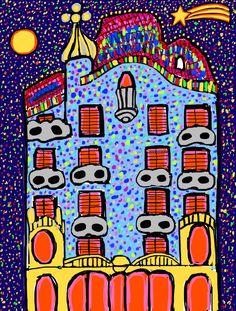 """Ilustración """"Casa Batlló Navidad"""". #casabatlló # barcelona #gaudí #ilustración #arte"""