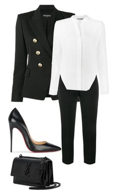 """""""All work"""" by allyse-sympson ❤ liked on Polyvore featuring Balmain, Alexander McQueen, Vince, Christian Louboutin and Yves Saint Laurent"""