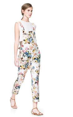 Zara floral jumpsuit - inspiration for making the Mila dungarees