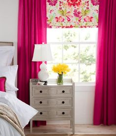 Watercolor blossoms on pure linen are artfully rendered to create a soft yet rich floral that frames your windows with a lovely garden year round. (Country Curtains Paint Palette Lined Faux Roman Shade)