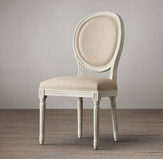 Distressed White Vintage French Round Side Chair   Restoration Hardware (but with indigo velvet upholstery)