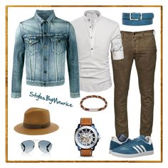 """""""Men's Casual Street Fashion"""" by mauricee-brewer on Polyvore featuring Diesel, adidas, Yves Saint Laurent, Bailey, Gucci, FOSSIL, Paul Smith, men's fashion and menswear"""