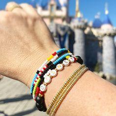 Disney Individual Beaded Bracelet Stretch Bracelet | Etsy Stack Bracelets, Stackable Bracelets, Stretch Bracelets, Beaded Bracelets, Bohemian Accessories, Letter Beads, Disney Inspired, Gold Beads, Bracelet Set