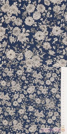 """lovely dark blue cotton sheeting fabric with detailed white flowers, Material: 100% cotton, Fabric Type: smooth cotton printed sheeting fabric, Fabric Width: 110cm (43.3"""") #Cotton #Flower #Leaf #Plants #JapaneseFabrics"""