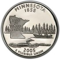 2005-S Silver Proof Minnesota State Quarter State Quarters, Proof Coins, Minnesota, Silver, Money